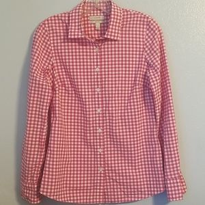JCREW pink checkered button down